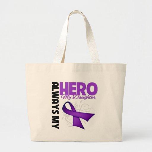 Mi hija siempre mi héroe - cinta púrpura bolsa lienzo