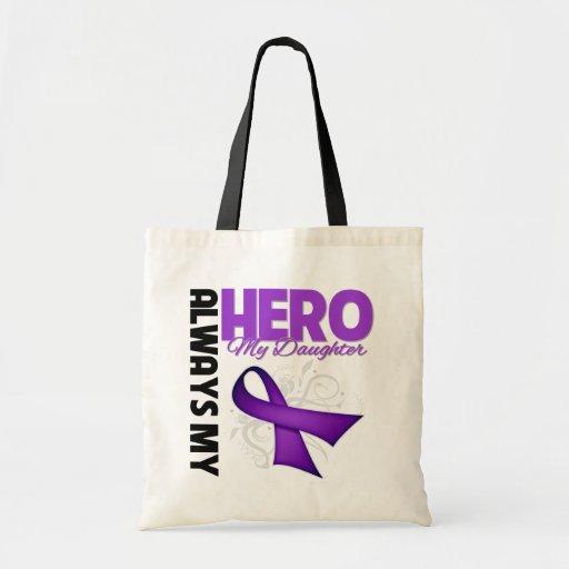 Mi hija siempre mi héroe - cinta púrpura bolsa