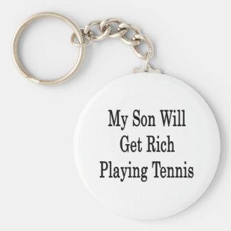 Mi hijo conseguirá rico jugando a tenis llavero redondo tipo pin