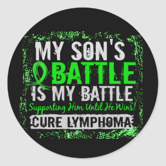 Mi hijo del linfoma demasiado 2 de la batalla pegatina redonda