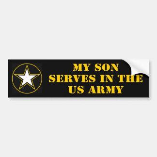 Mi hijo desempeña servicios en el ejército pegatina para auto