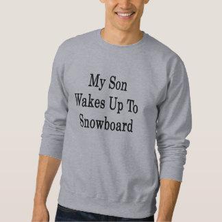 Mi hijo despierta a la snowboard pulovers sudaderas
