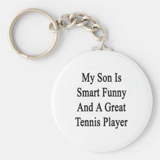 Mi hijo es divertido elegante y gran jugador de te llavero redondo tipo pin