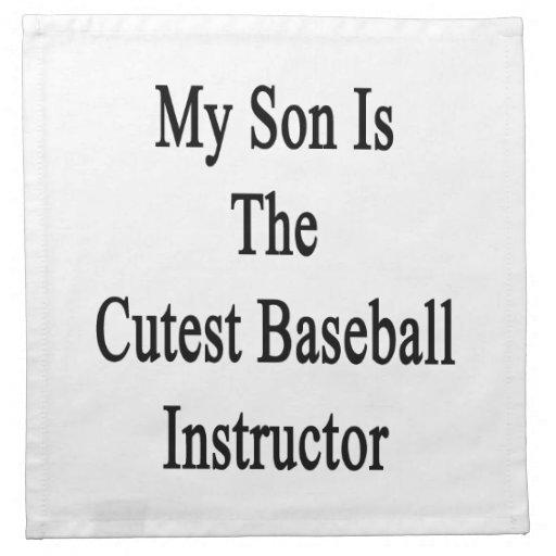 Mi hijo es el instructor más lindo del béisbol servilletas de papel
