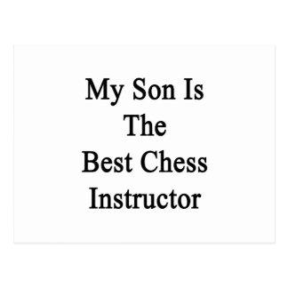 Mi hijo es el mejor instructor del ajedrez tarjetas postales