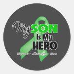 Mi hijo es mi héroe - cáncer del riñón etiquetas redondas