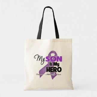Mi hijo es mi héroe - cinta púrpura bolsa tela barata