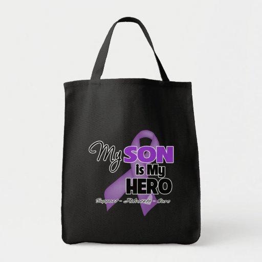 Mi hijo es mi héroe - cinta púrpura bolsas de mano