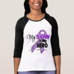 Mi hijo es mi héroe - cinta púrpura camisetas