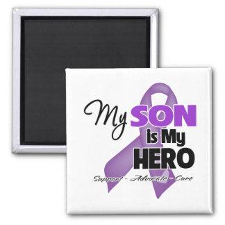 Mi hijo es mi héroe - cinta púrpura imanes para frigoríficos