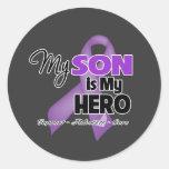 Mi hijo es mi héroe - cinta púrpura etiquetas redondas