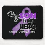 Mi hijo es mi héroe - cinta púrpura alfombrillas de ratón
