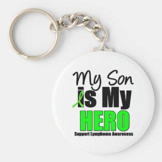 Mi hijo es mi héroe - linfoma llavero redondo tipo pin