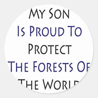 Mi hijo es orgulloso proteger los bosques del Worl Etiquetas Redondas