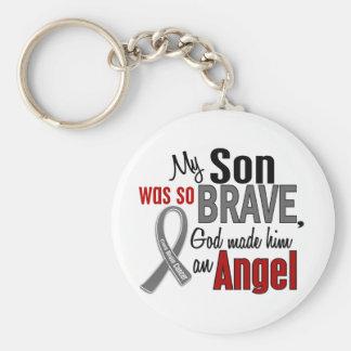 Mi hijo es un cáncer de cerebro del ángel 1 llavero personalizado