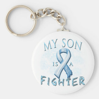 Mi hijo es un combatiente azul claro llavero