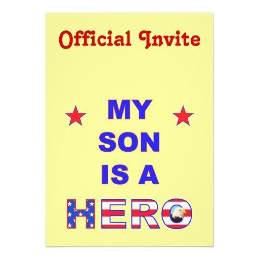 Mi hijo es un héroe invitación personalizada