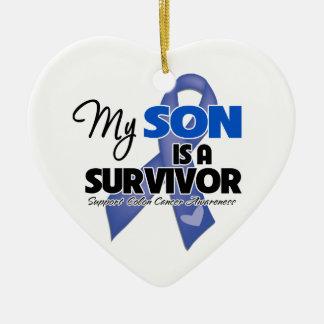 Mi hijo es un superviviente - cáncer de colon adorno navideño de cerámica en forma de corazón