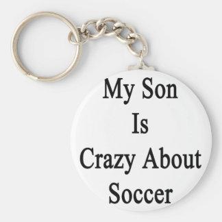 Mi hijo está loco por fútbol llavero redondo tipo pin