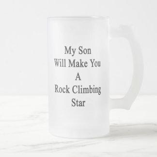Mi hijo le hará una estrella de la escalada taza de cristal