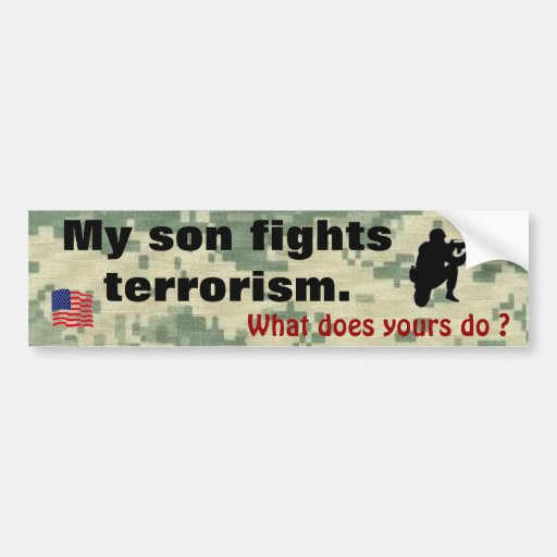 Mi hijo lucha terrorismo pegatina de parachoque