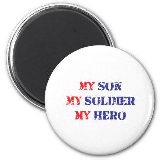 Mi hijo, mi soldado, mi héroe imán redondo 5 cm