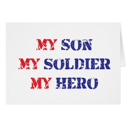 Mi hijo, mi soldado, mi héroe tarjeta de felicitación