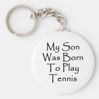 Mi hijo nació jugar a tenis llavero redondo tipo pin