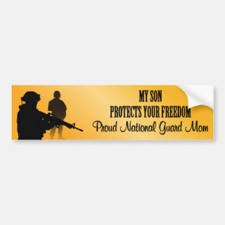 Mi hijo protege su libertad (la mamá del Guardia N Pegatina De Parachoque