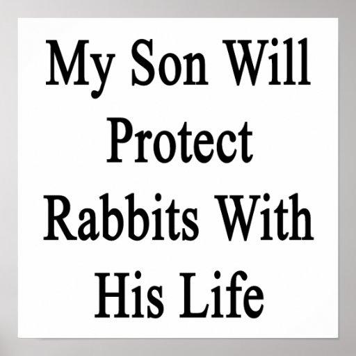 Mi hijo protegerá conejos con su vida póster