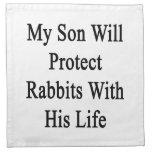 Mi hijo protegerá conejos con su vida servilletas imprimidas