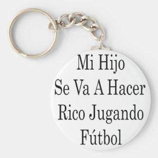 Mi Hijo Se Va A Hacer Rico Jugando Futbol Basic Round Button Keychain