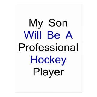 Mi hijo será un jugador de hockey profesional tarjeta postal