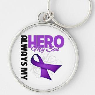 Mi hijo siempre mi héroe - cinta púrpura llaveros personalizados