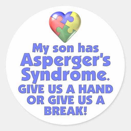 Mi hijo tiene Asperger Pegatina Redonda