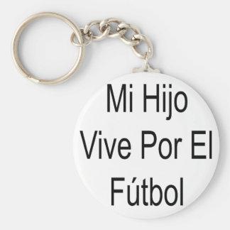 Mi Hijo Vive Por El Futbol Basic Round Button Keychain