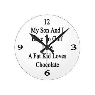 Mi hijo y yo amamos Golf como los amores Cho de un Reloj Redondo Mediano