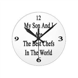 Mi hijo y yo somos los mejores cocineros del mundo reloj redondo mediano