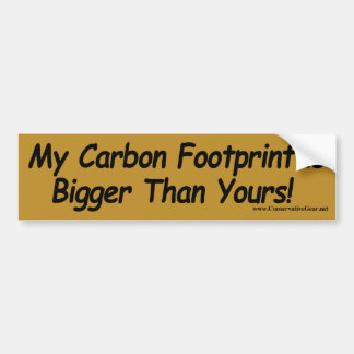 ¡Mi huella del carbono es más grande que la suya! Pegatina De Parachoque