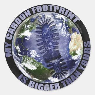 ¡Mi huella del carbono es más grande que la suya! Etiquetas Redondas