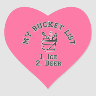 Mi humor de la lista del cubo - hielo y cerveza pegatina en forma de corazón