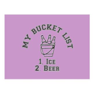 Mi humor de la lista del cubo - hielo y cerveza postales