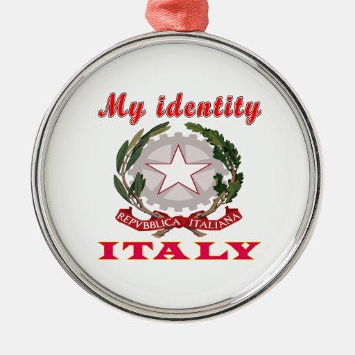 Mi identidad Italia Adorno Navideño Redondo De Metal