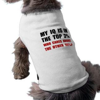 Mi índice de inteligencia que cuida playera sin mangas para perro