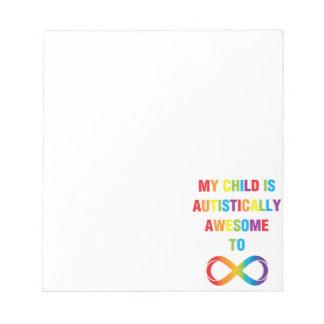 Mi infinito autístico impresionante del niño bloc de papel