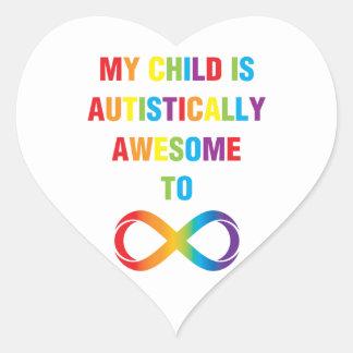Mi infinito autístico impresionante del niño pegatina en forma de corazón