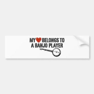 Mi jugador del banjo del corazón pegatina de parachoque