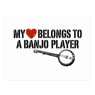 Mi jugador del banjo del corazón tarjetas postales