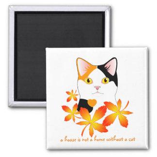 Mi-Ke Japanese Bobtail Cat Maple Leaves Cute Art Magnet