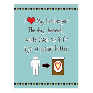 Mi Leonberger ama la mantequilla de cacahuete Tarjeta Postal